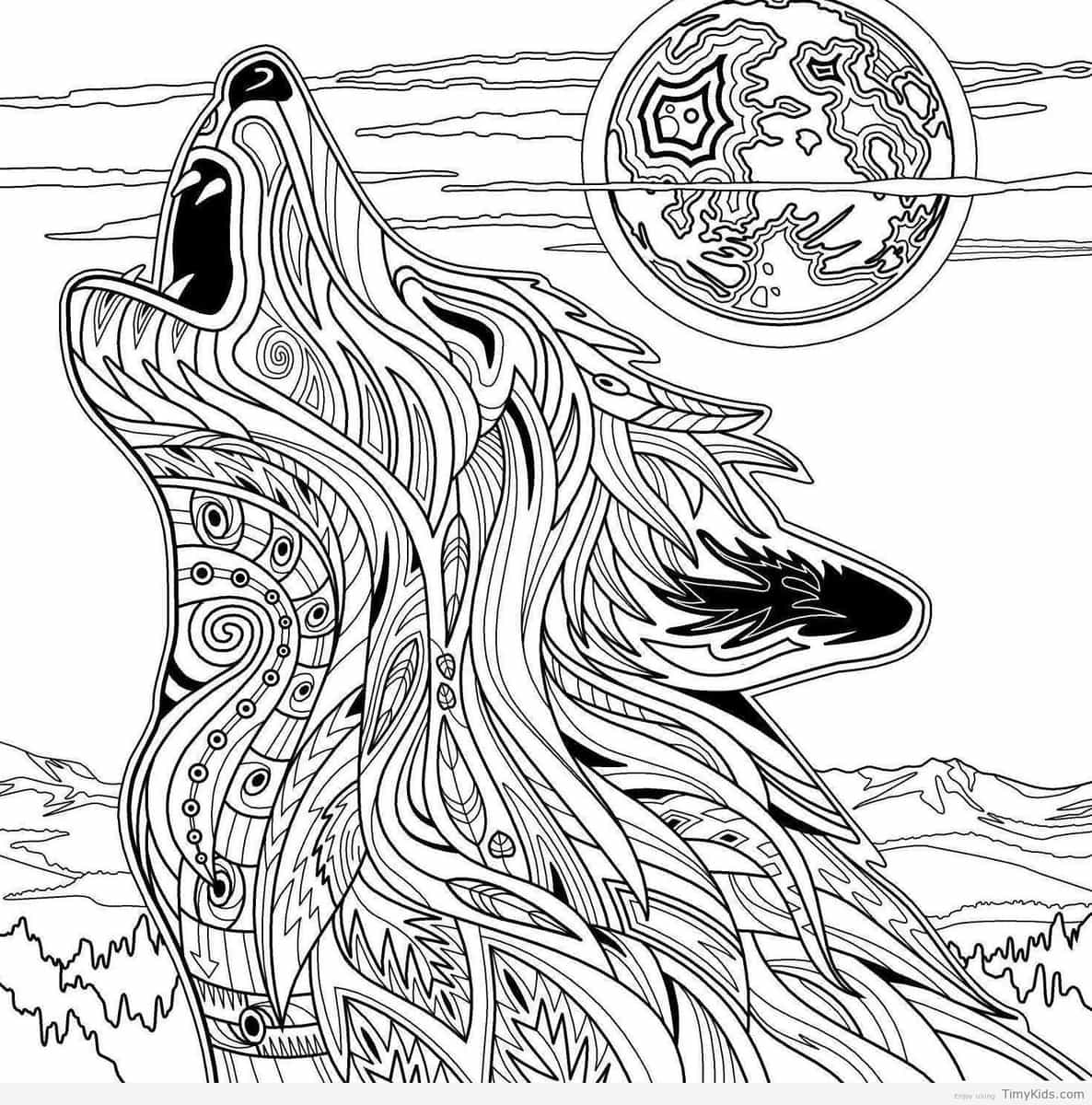 1186x1200 Wolf Coloring Pages For Kids Timykids