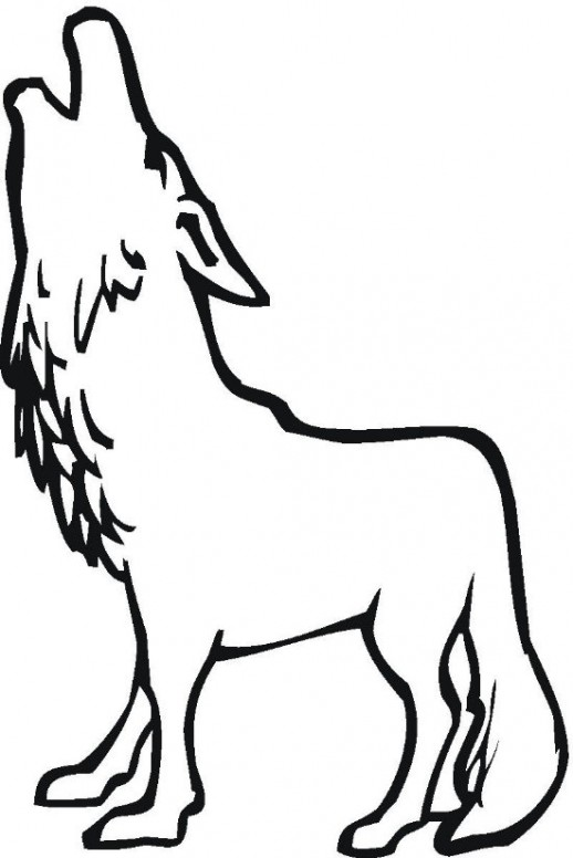518x776 Cartoon Animal Howling Wolf Coloring Pages