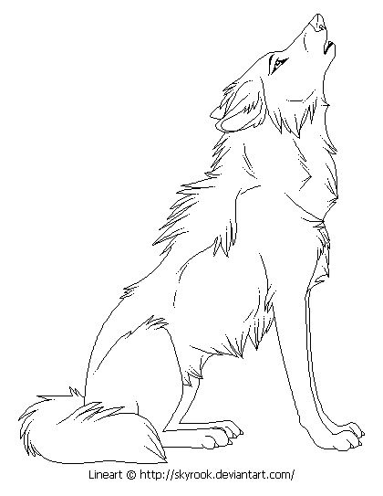 420x543 Drawn Howling Wolf Wing Coloring Page Pencil And In Color Drawn