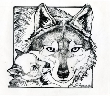 450x395 Drawn Howling Wolf Mother Wolf