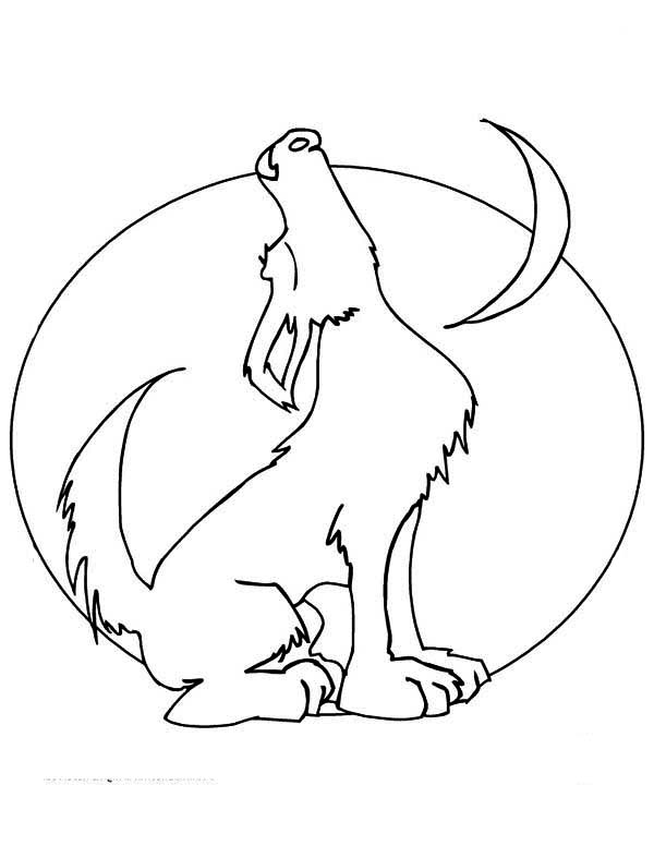 600x776 Howling Wolf And The Moon Coloring Page