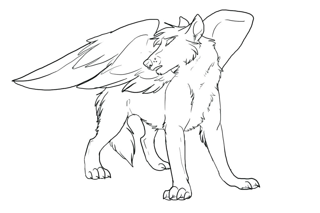 1024x683 Wolf Color Page Winged Wolf Coloring Pages Wolf Pack Coloring