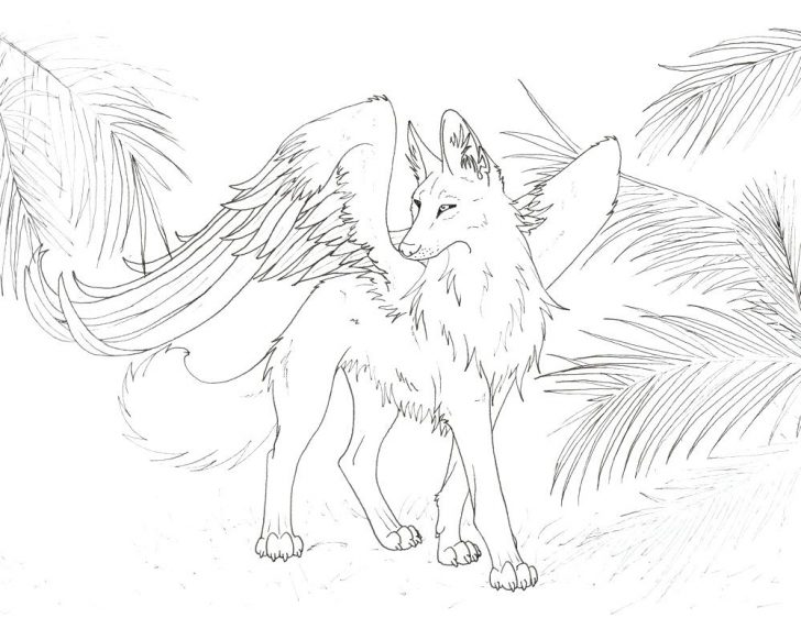 728x582 Cute Wolf Pup Coloring Pages Winged Page Baby Anime Animals