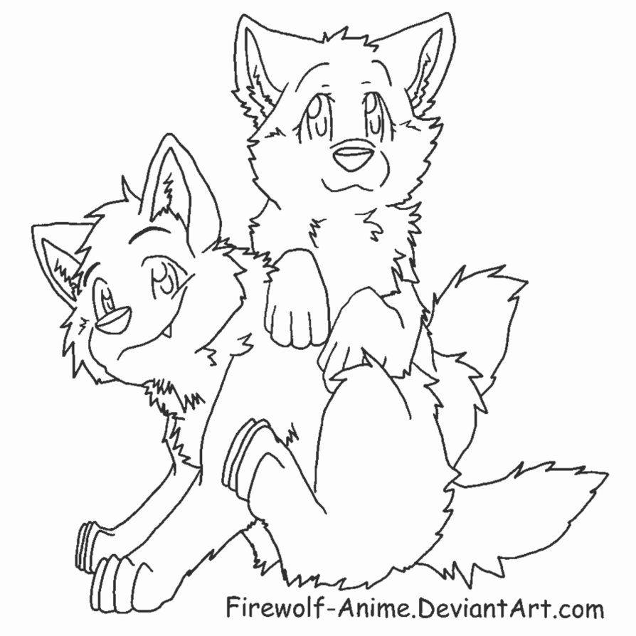 894x894 Anime Wolf Pup Coloring Pages