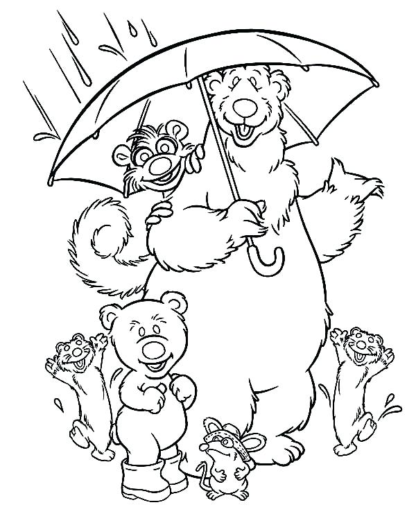 600x754 Rain Coloring Page Bear Big Blue House And Friends Under The Rain