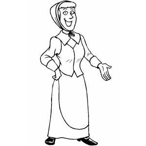 300x300 Piligrim Woman Coloring Page