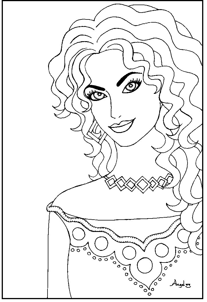 723x1056 Stunning Woman Coloring Page Crayon Action Coloring Pages