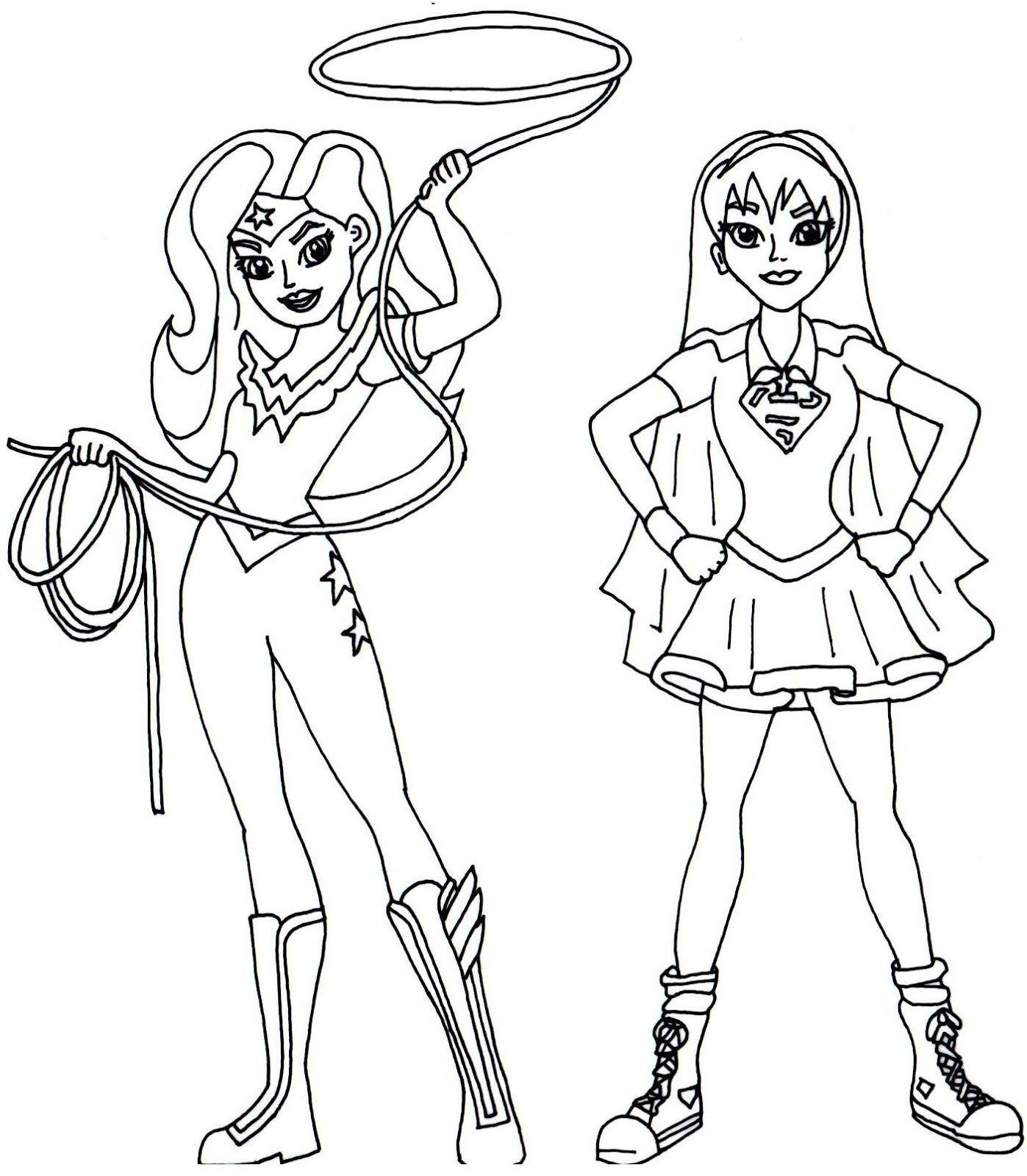 1397x1600 Wonder Woman And Supergirl Super Hero High Coloring Page Free
