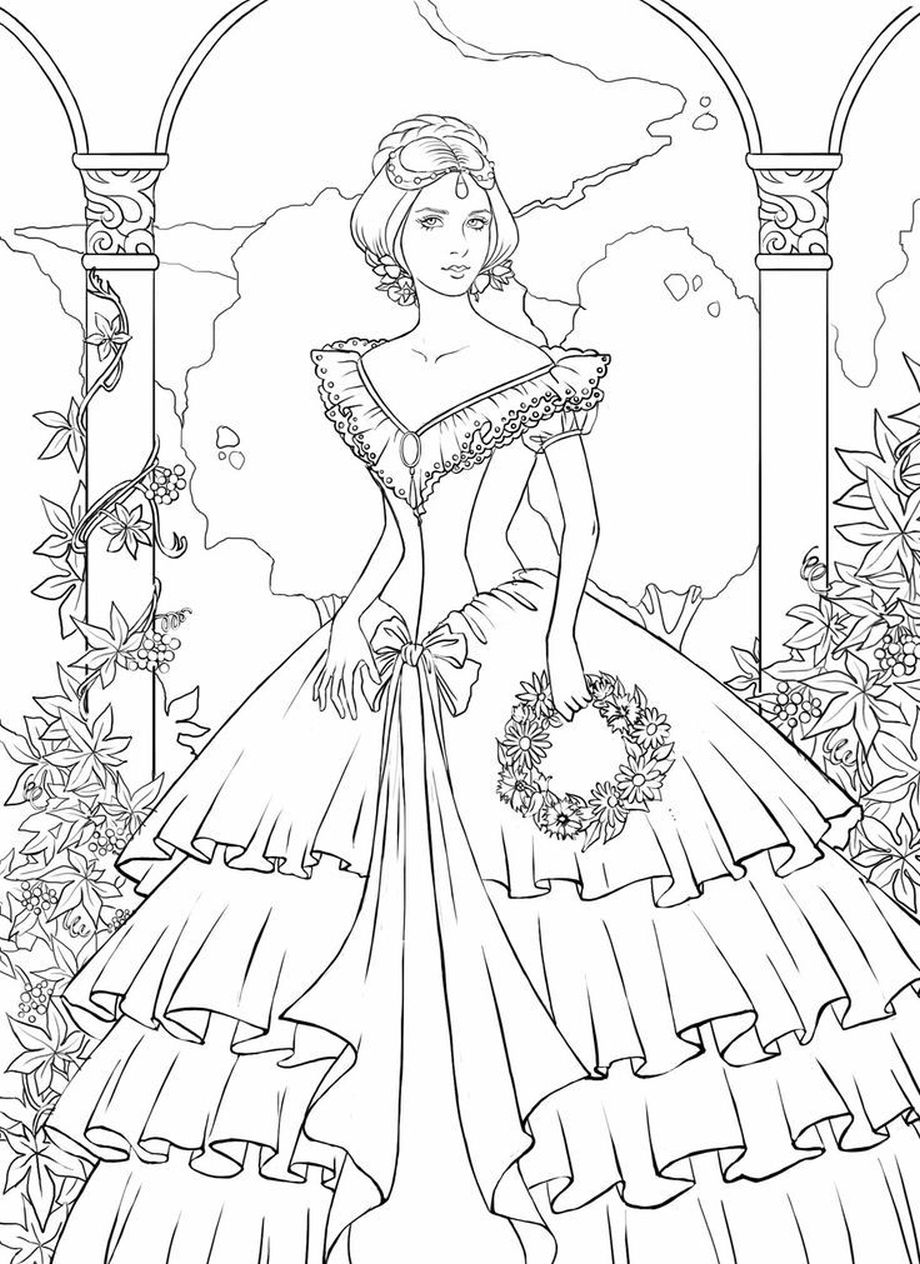 920x1264 Appealing Victorian Woman Coloring Pages For Fashion Pic Adult