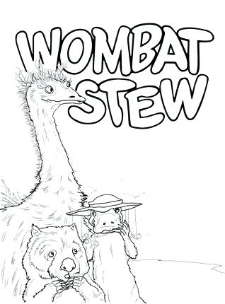 318x430 Wombat Coloring Page Dingo And Wombat In A Pot Coloring Page