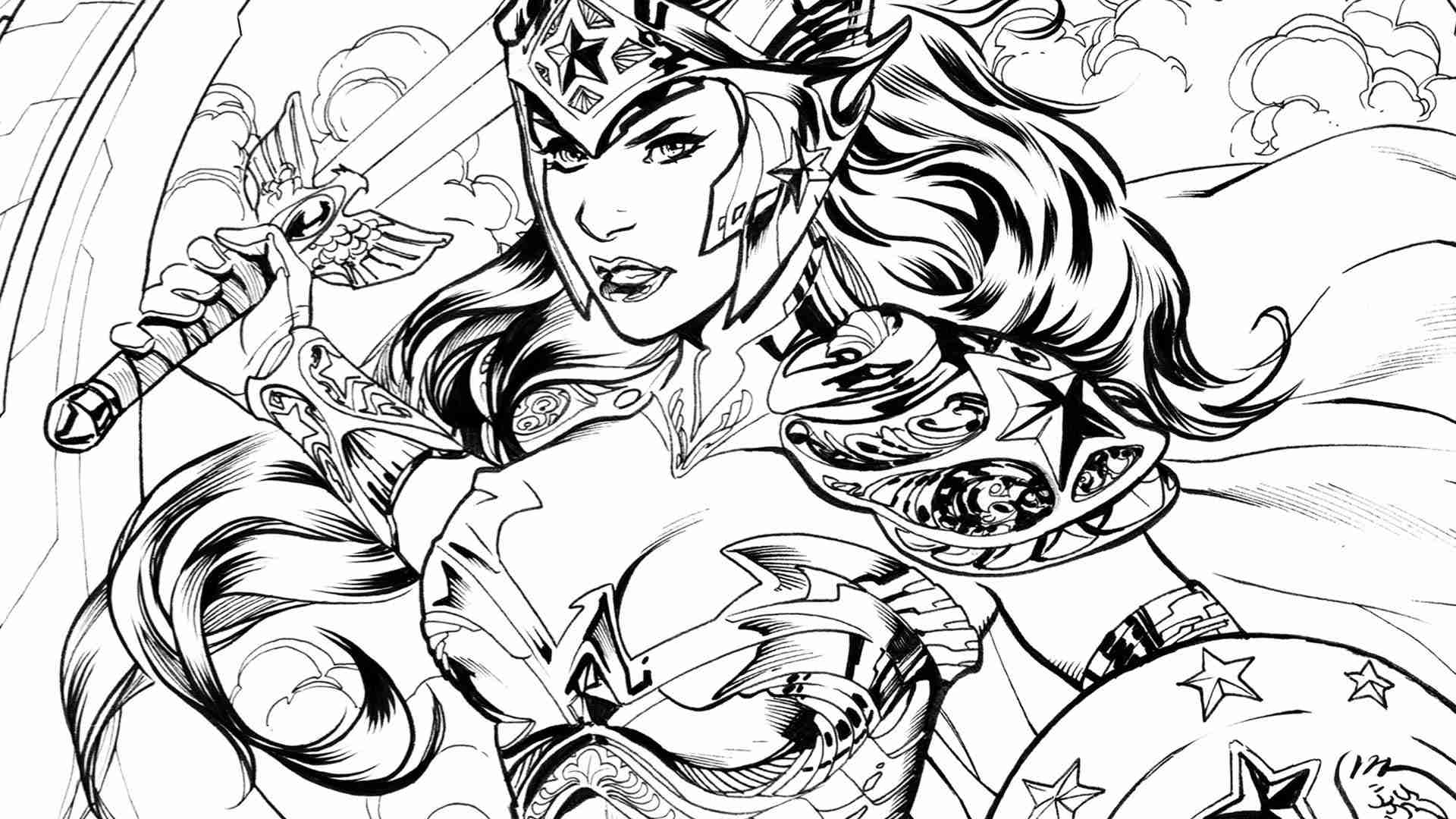 1920x1080 Realistic Wonder Woman Coloring Pages For Adults Coloringstar