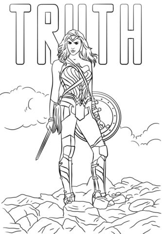 333x480 Woman Coloring Pages Wonder Woman Truth Coloring Page Free