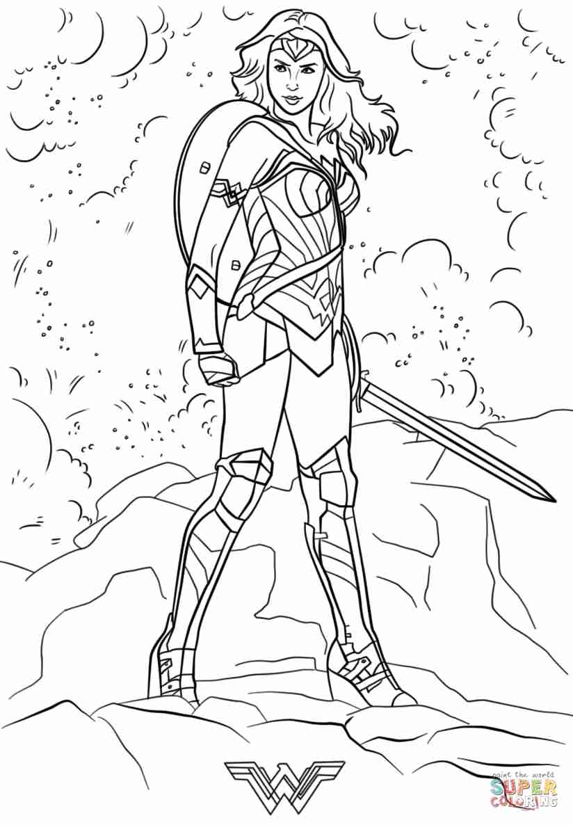 824x1186 Wonder Woman Coloring Page Free Printable Pages Lively Wonderwoman