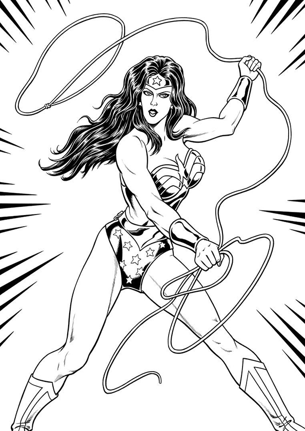 595x842 Wonder Woman Coloring Pages For Adults