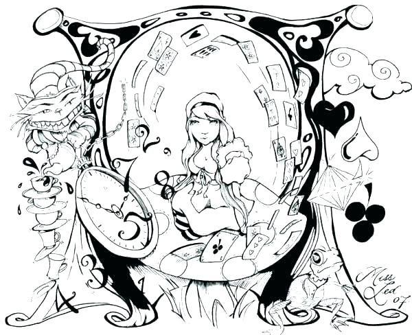600x488 Coloring Caterpillar In Wonderland Coloring Pages In Wonderland