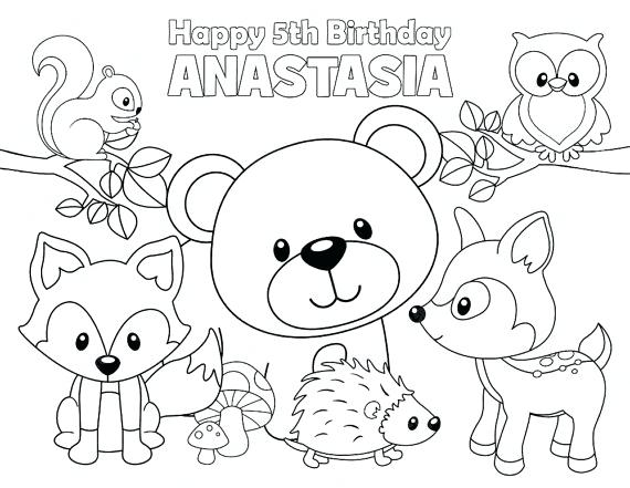 570x441 Forest Animals Coloring Pages Personalized Printable Woodland