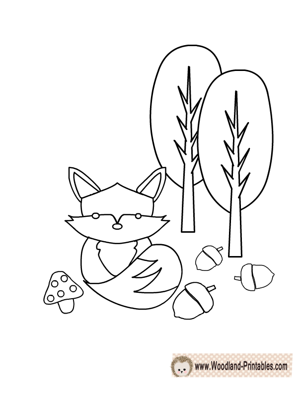 612x792 Cute Fox Coloring Page Woodland Animals Nursery Ideas