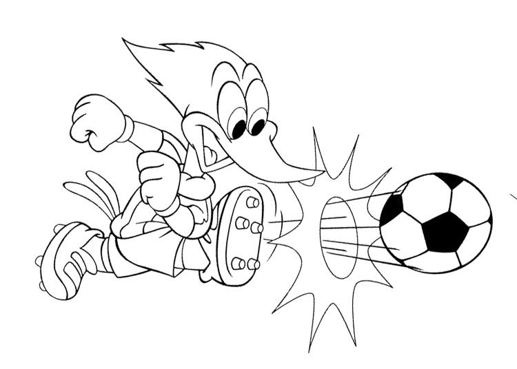 750x536 Woody Woodpecker Playing Soccer Coloring Page Color Pages