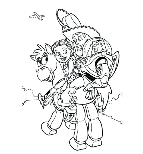 600x649 Jessie Toy Story Coloring Pages Woody Buzz And Bullseye Toy Story