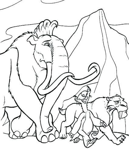 425x510 Wooly Mammoth Coloring Page As Well As Homely Design Ice Age