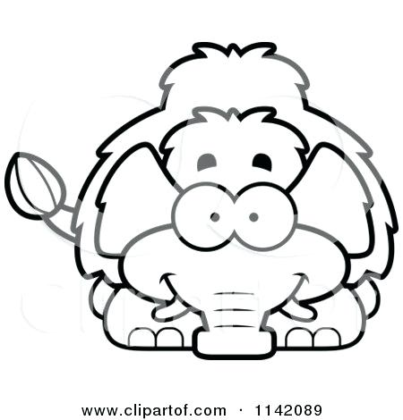 450x470 Wooly Mammoth Coloring Page Cartoon Of A Black And White Happy