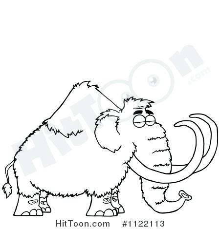 450x470 Wooly Mammoth Colouring Page Mammoth Black And White Pencil