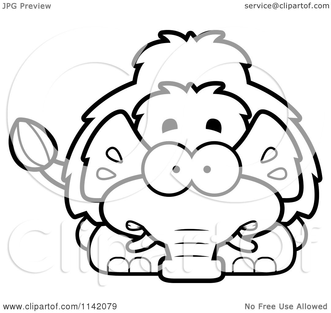 1080x1024 Cartoon Clipart Of A Black And White Scared Wooly Mammoth