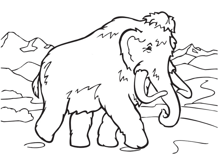 750x531 Coloring Page Wolly Mammoth