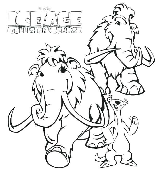 595x695 Wooly Mammoth Coloring Page Coloring Pages Of Ice Age Collision