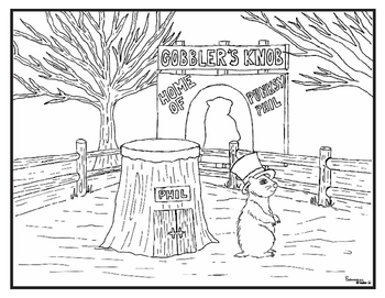 350x271 Groundhog Day Coloring Pages, Word Search And Cut Paste Prediction