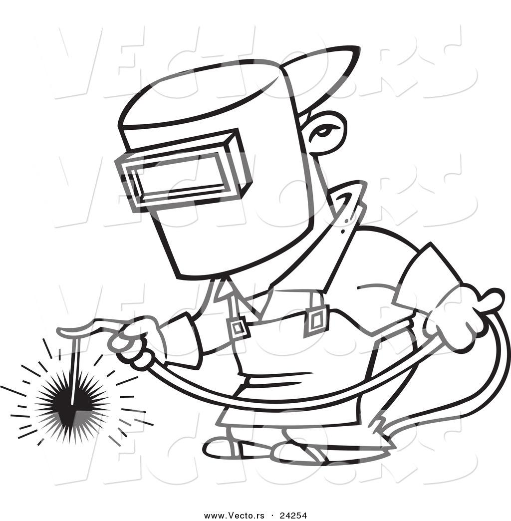 1024x1044 Vector Of A Cartoon Welder