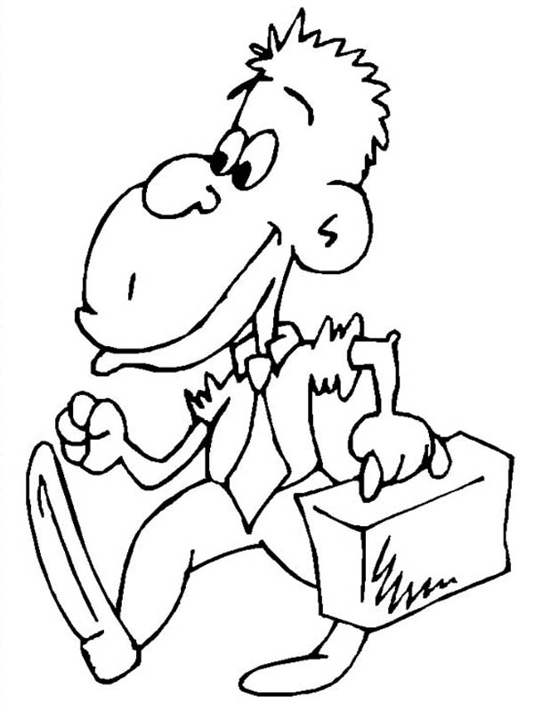 600x800 Monkey Going To Work Coloring Page