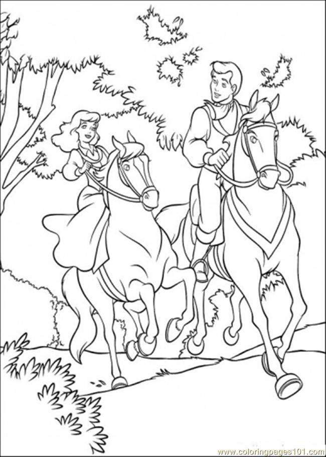 650x912 Cinderella And Prince Are Riding Horse Together Coloring Page