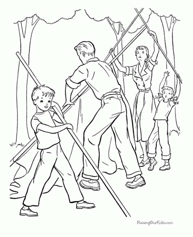 653x800 Workinggether Build A Tent For Camping Coloring Pages