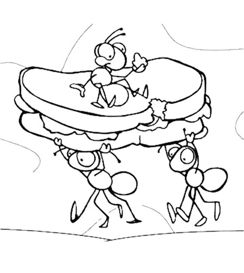 500x560 Ants On A Log Coloring Pages Color Bros