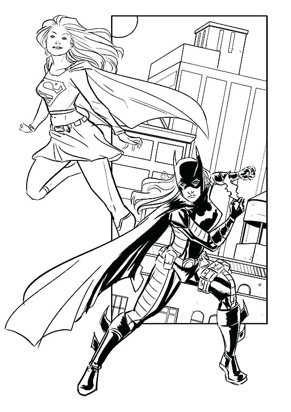 600x850 Batgirl Coloring Page Full Size Of Coloring Pages Together