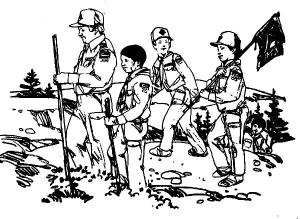600x438 Boy Scouts Working Together Coloring Pages Best Place To Color