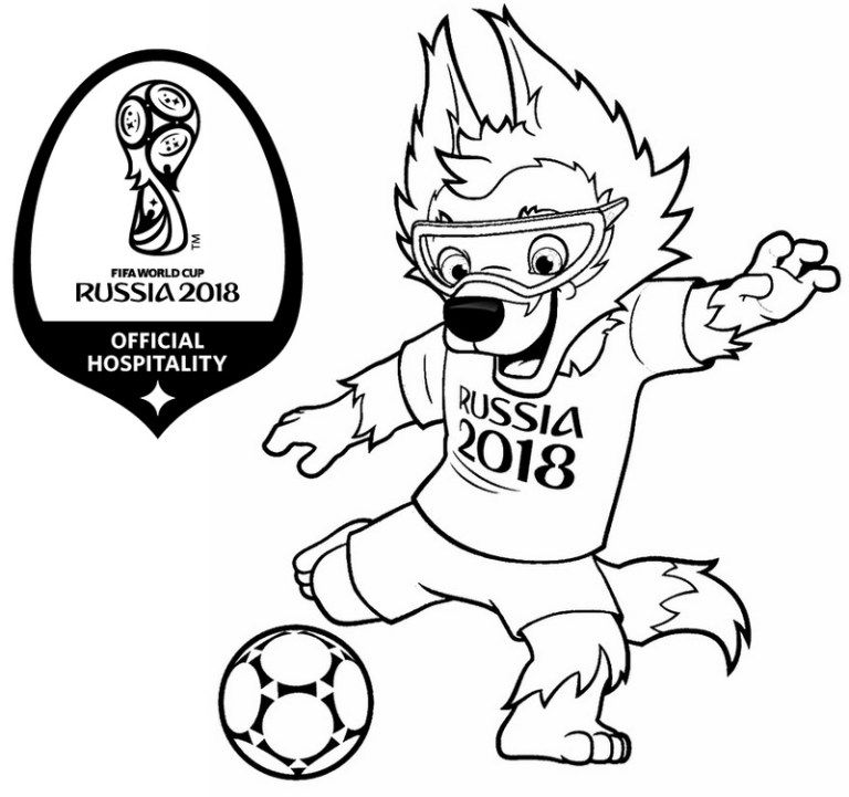 768x721 Zabivaka Mascot World Cup Russia Coloring Page Best Fifa
