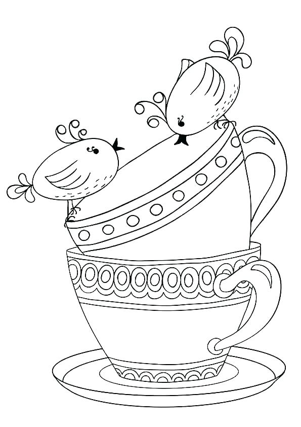 595x842 Cup Coloring Pages Tea Cup Coloring Page Cup Coloring Page Cup