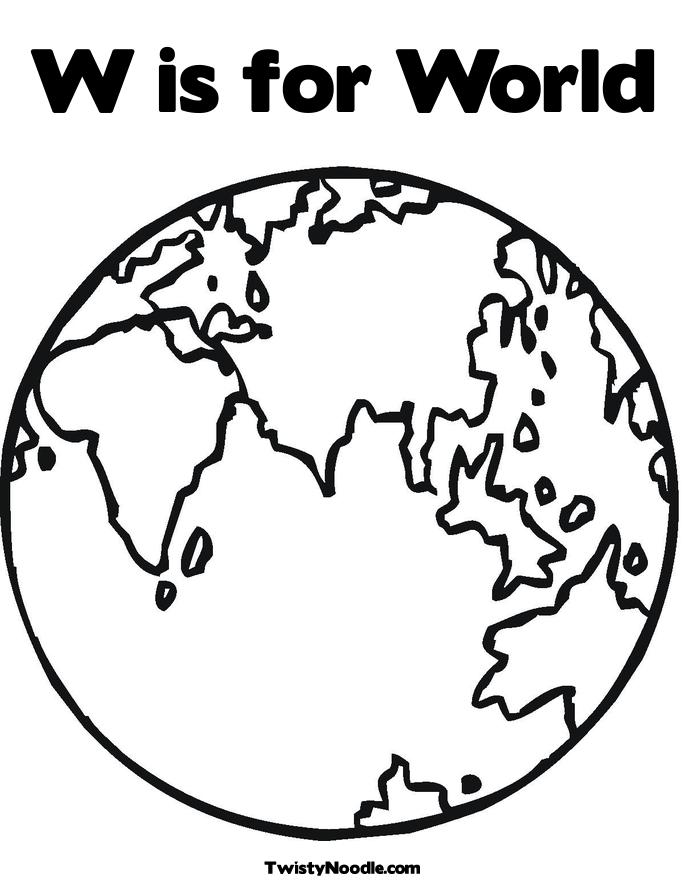 685x886 World Globe Coloring Page