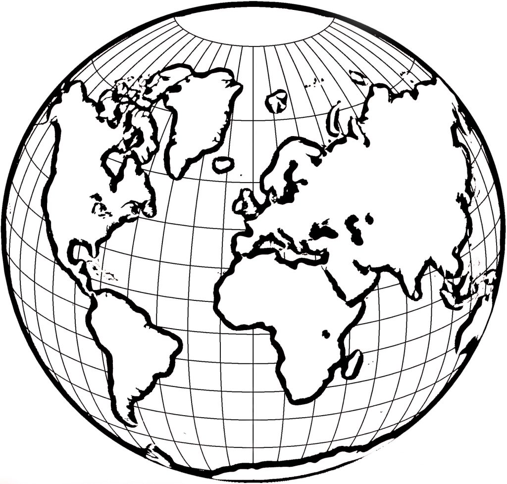 1024x978 World Globe Coloring Page