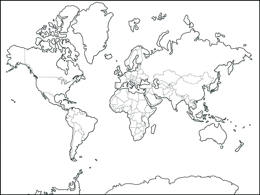 World Map Coloring Page For Kids at GetDrawings | Free ...