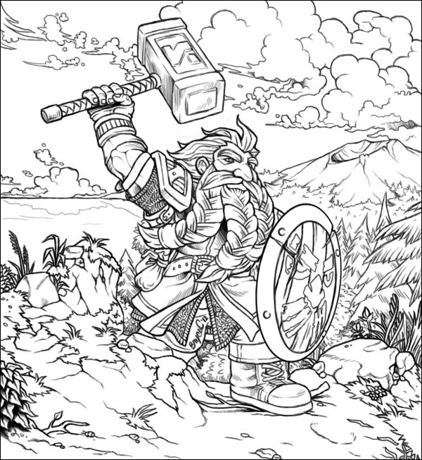 The best free Dwarf coloring page images. Download from 110 ...