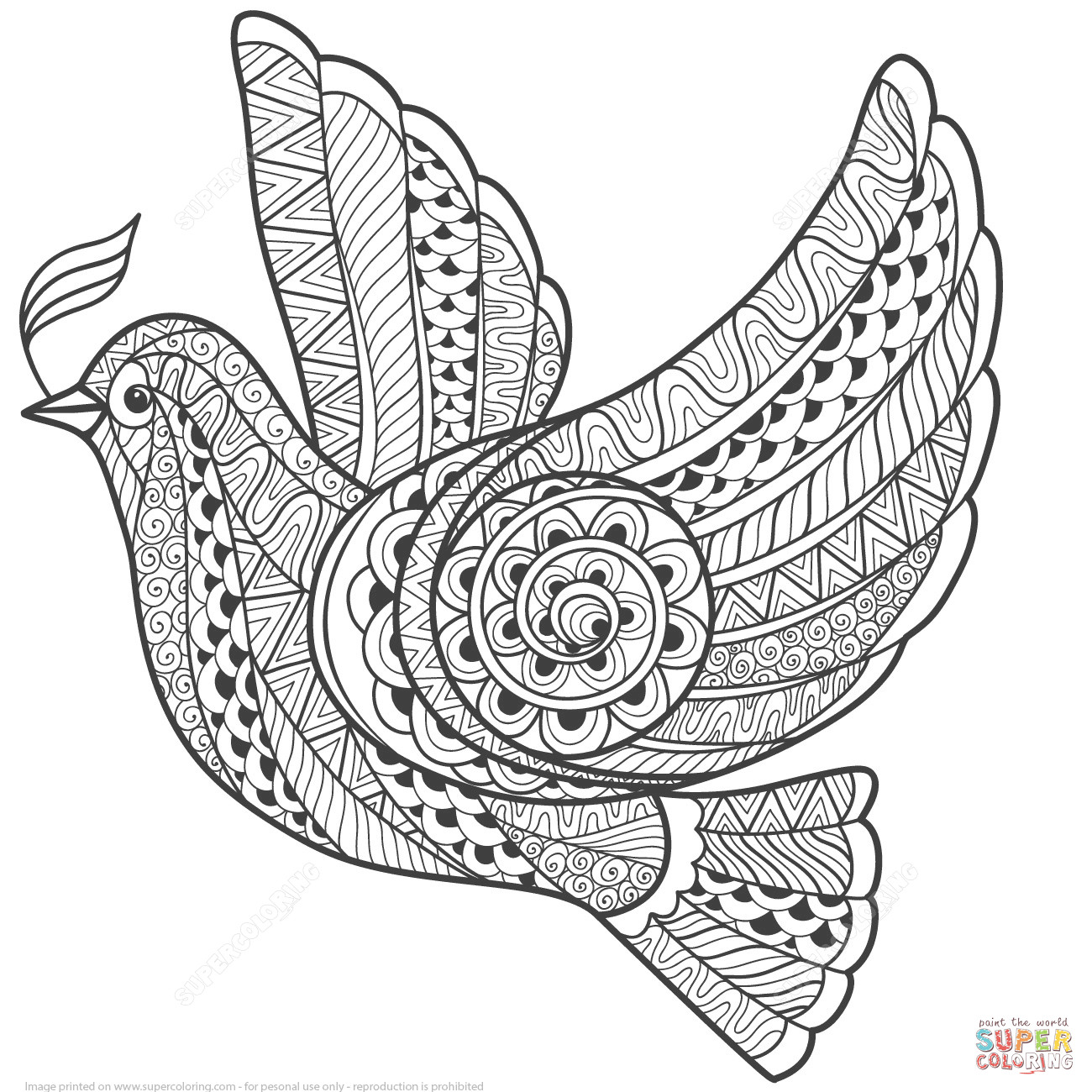 1300x1300 Zentangle Dove Of Peace Coloring Page Free Printable Pages