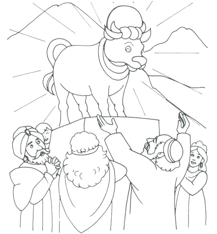736x795 Golden Calf Coloring Page Ten Commandments For Kids Coloring Pages