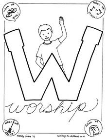 220x287 W Is For Worship Coloring Page