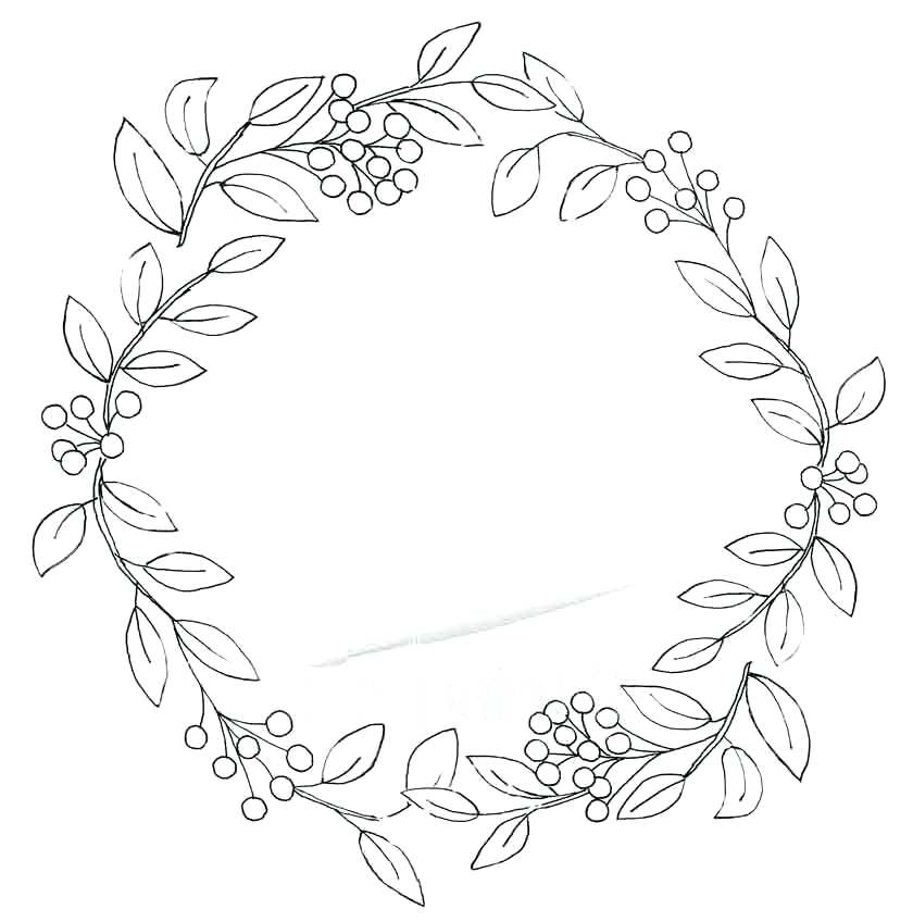 840x848 Fall Wreath Coloring Pages Kit Also Berry And Leaves Wreath