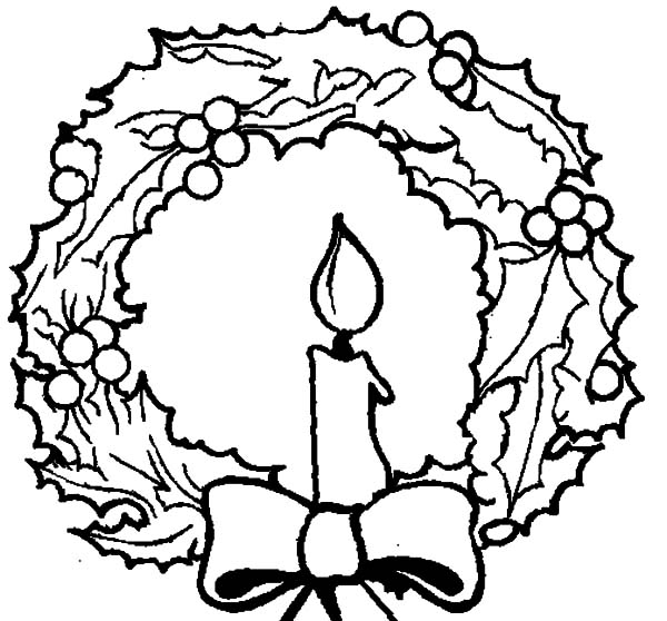 600x558 Wreath Coloring Page Christmas Candle And Christmas Wreath