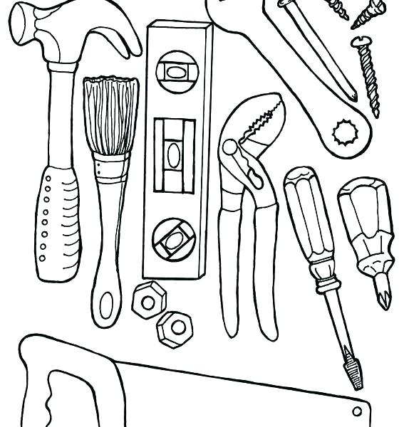 567x600 Construction Worker Coloring Sheets Pages Tools For Girls Doctor