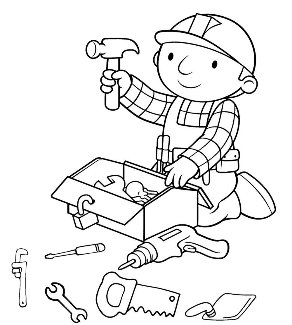 1000x1111 Bob The Builder Preparing Tools Coloring Page Coloring Pages